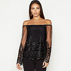 Star by Julien Macdonald - Black lace mesh Bardot neck long sleeve top