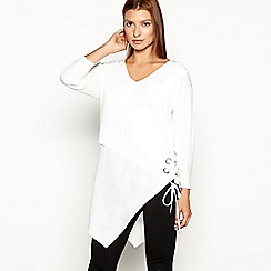Star by Julien Macdonald - Ivory lace up eyelet asymmetric V-neck long sleeve top