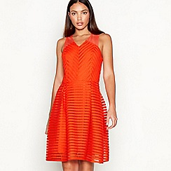 Star by Julien Macdonald - Orange striped sleeveless mini fit and flare dress