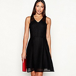 Star by Julien Macdonald - Black stripe sleeveless mini fit and flare dress