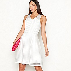 Star by Julien Macdonald - Ivory striped sleeveless mini fit and flare dress
