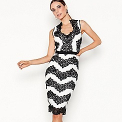 Star by Julien Macdonald - Black chevron lace V-neck pencil dress