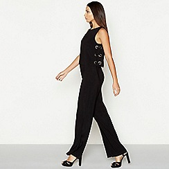 Star by Julien Macdonald - Black eyelet detail round neck full length jumpsuit