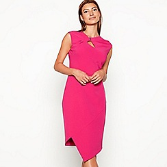 Star by Julien Macdonald - Bright pink twist front asymmetric sleeveless dress