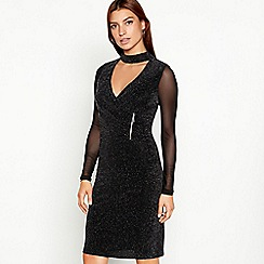 Star by Julien Macdonald - Black sparkle mesh long sleeve bodycon dress