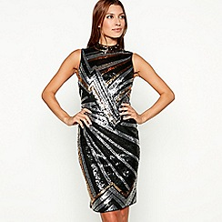 Star by Julien Macdonald - Gold zig zag sequin high neck sleeveless mini dress