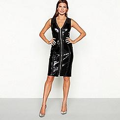 Star by Julien Macdonald - Black sequinned mesh zip front sleeveless knee length bodycon dress