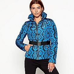 Star by Julien Macdonald - Blue snakeskin print belted puffer jacket