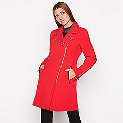 Star by Julien Macdonald - Red studded silver zip biker coat