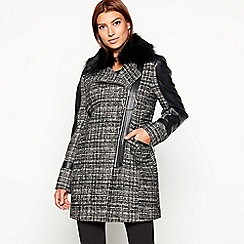 Star by Julien Macdonald - Black check print faux fur collar coat
