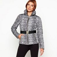 Star by Julien Macdonald - Black snakeskin print belted puffer jacket 4c1c52d02