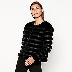 Star by Julien Macdonald - Black faux fur belted collarless jacket