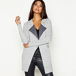 Star by Julien Macdonald - Grey double faced long sleeve biker cardigan