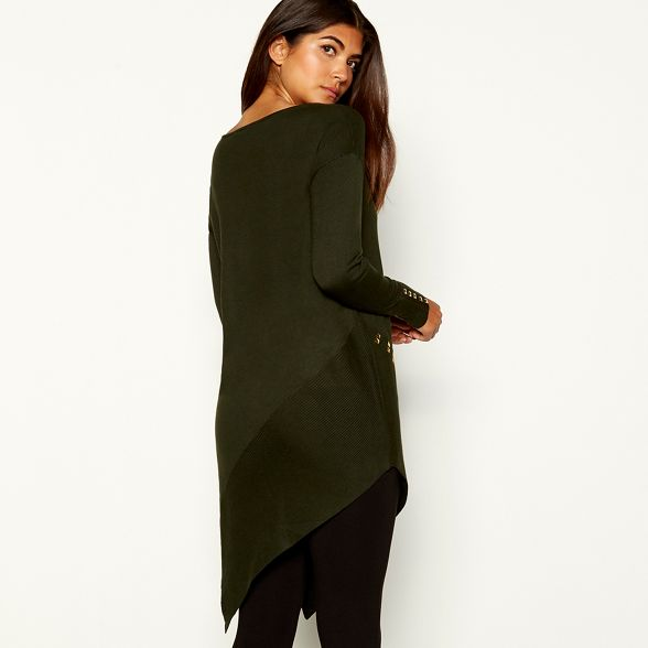 Macdonald longline asymmetric jumper Khaki by Julien Star studded qwFTf