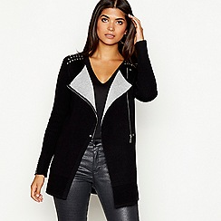 Star by Julien Macdonald - Black studded double faced long sleeve biker cardigan