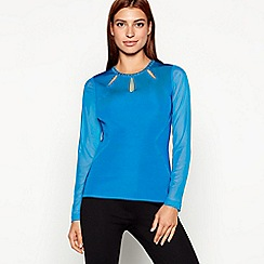 Star by Julien Macdonald - Bright blue studded mesh long sleeve top