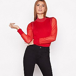 Star by Julien Macdonald - Red silver stud mesh sleeve top