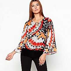 Star by Julien Macdonald - Orange chiffon butterfly print bubble hem blouse