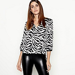 Star by Julien Macdonald - Black zebra print zip detail wrap top