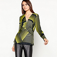 Star by Julien Macdonald - Yellow striped print twist front top