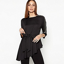 Star by Julien Macdonald - Black Chain Shoulder Asymmetric Tunic Top