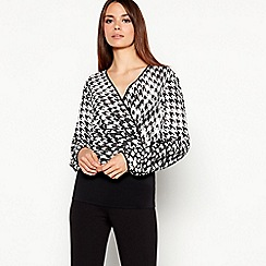 Star by Julien Macdonald - Black Houndstooth Print Wrap Front Top