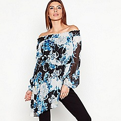 Star by Julien Macdonald - Blue Floral Print Chiffon Bardot Top