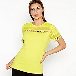 Star by Julien Macdonald - Yellow Eyelet Trim Cotton T-Shirt
