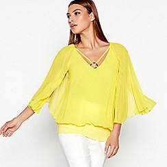 Star by Julien Macdonald - Yellow Pleated Sleeve Bubble Hem Top