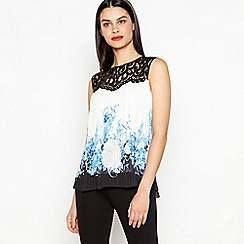 Star by Julien Macdonald - Blue Floral Print Pleated Top
