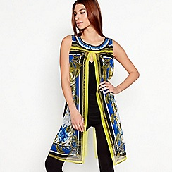 Star by Julien Macdonald - Blue Scarf Print Chain Neck Longline Top