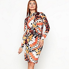 Star by Julien Macdonald - Orange floral print bodycon knee length dress