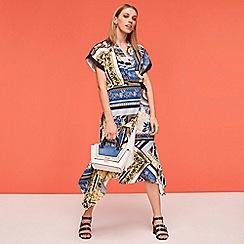 Star by Julien Macdonald - Blue scarf print midi wrap dress