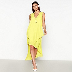 Star by Julien Macdonald - Yellow Star Necklace Asymmetric Knee Length Dress