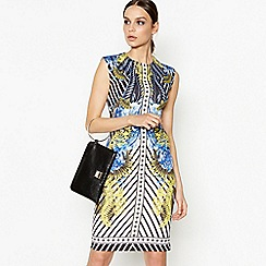 Star by Julien Macdonald - Blue Scarf Print Scuba Knee Length Bodycon Dress