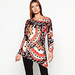 Star by Julien Macdonald - Orange Butterfly Print Asymmetrical Hem Knitted Jumper