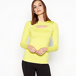 Star by Julien Macdonald - Yellow 'Peekaboo' Stud Trim Jumper