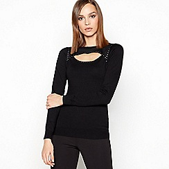 Star by Julien Macdonald - Black 'Peekaboo' Stud Trim Jumper