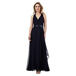 No. 1 Jenny Packham - Blue chiffon 'Lily' v-neck evening dress