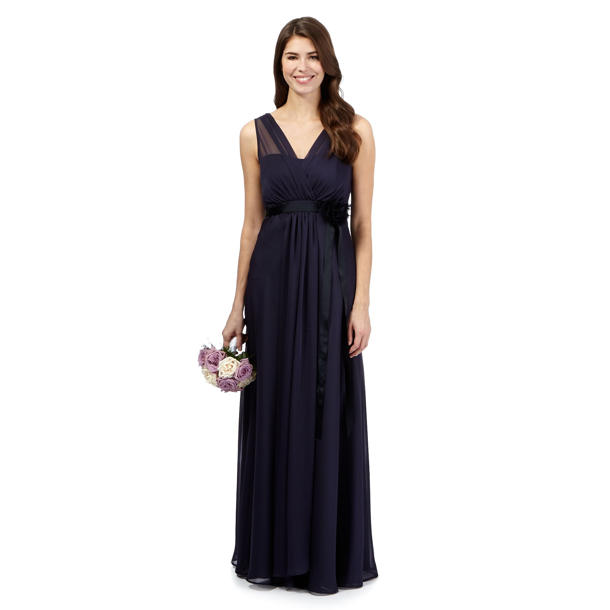 Debut womens blue chiffon v neck full length bridesmaid dress from free standard delivery on orders over 45 ombrellifo Image collections