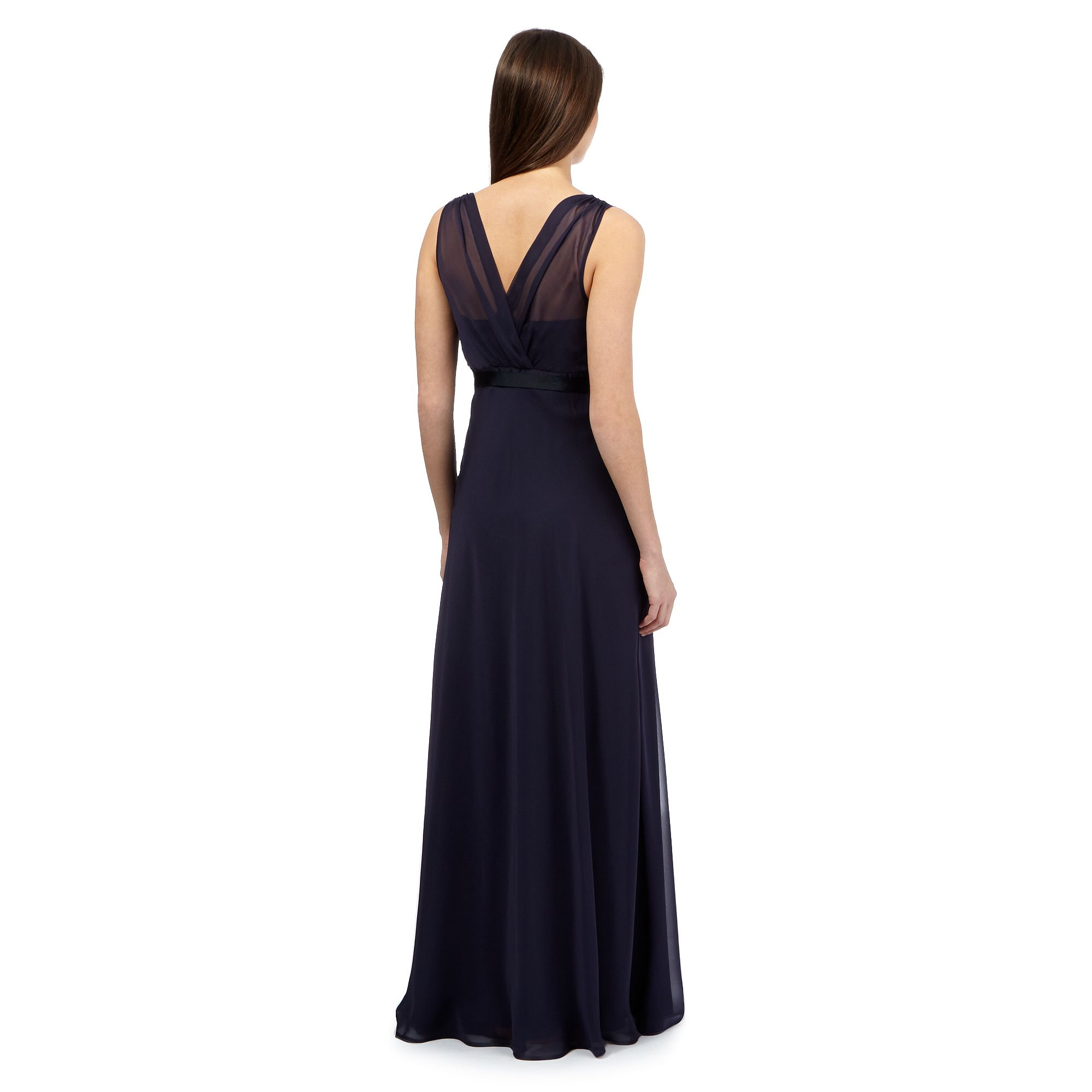 Debut womens blue chiffon v neck full length bridesmaid dress from free delivery on orders over 40 when you add to basket at the top of the page ombrellifo Images