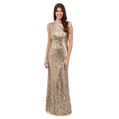 No. 1 Jenny Packham Gold sequin evening dress | Debenhams