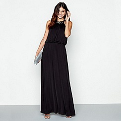 Debut - Black 'Nadine' embellished neckline sleeveless maxi evening dress