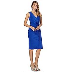 Debut - Blue V neck knee length wrap dress