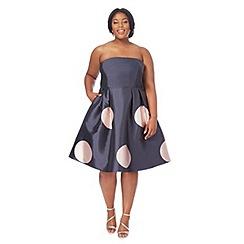 Debut - Navy spot print bandeau knee length prom dress
