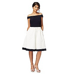 Debut - Ivory 'Hepburn' Bardot neck prom dress