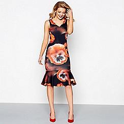 Debut - Multi-coloured floral print scuba bodycon dress