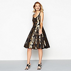 Debut - Gold floral print 'Georgia' v-neck midi prom dress