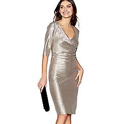 Debut - Gold V-neck knee length dress