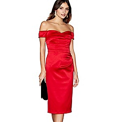Debut - Red satin 'Origami' bardot neck midi length evening dress